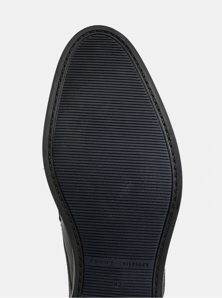 Čierne pánske kožené polobotky Tommy Hilfiger