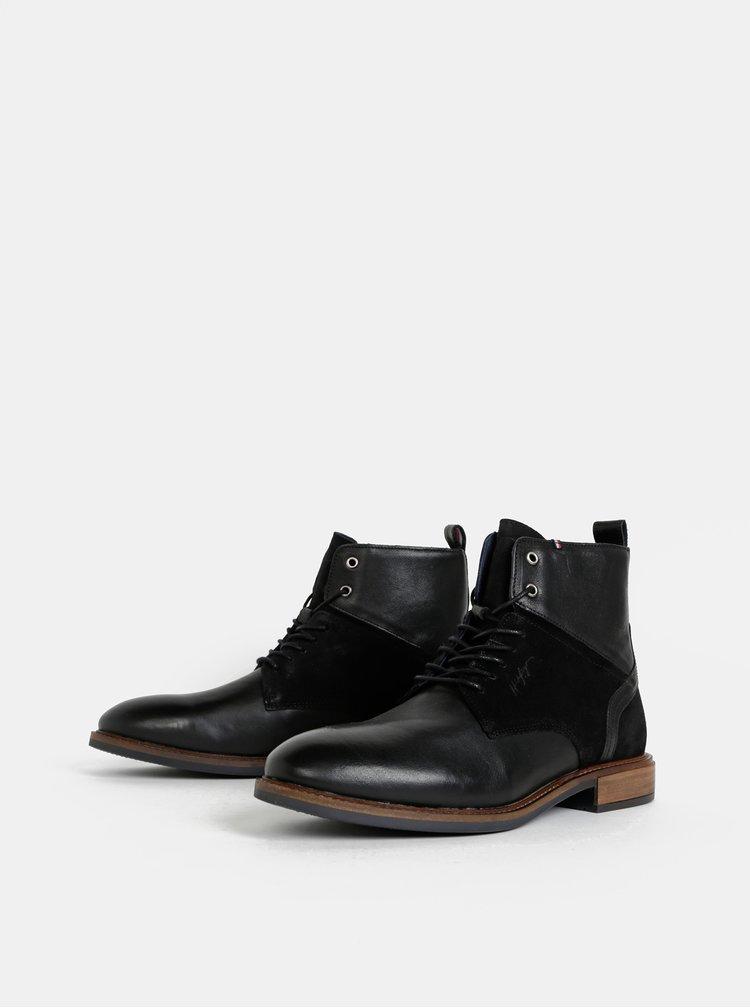 Černé pánské kožené kotníkové boty se semišovými detaily Tommy Hilfiger