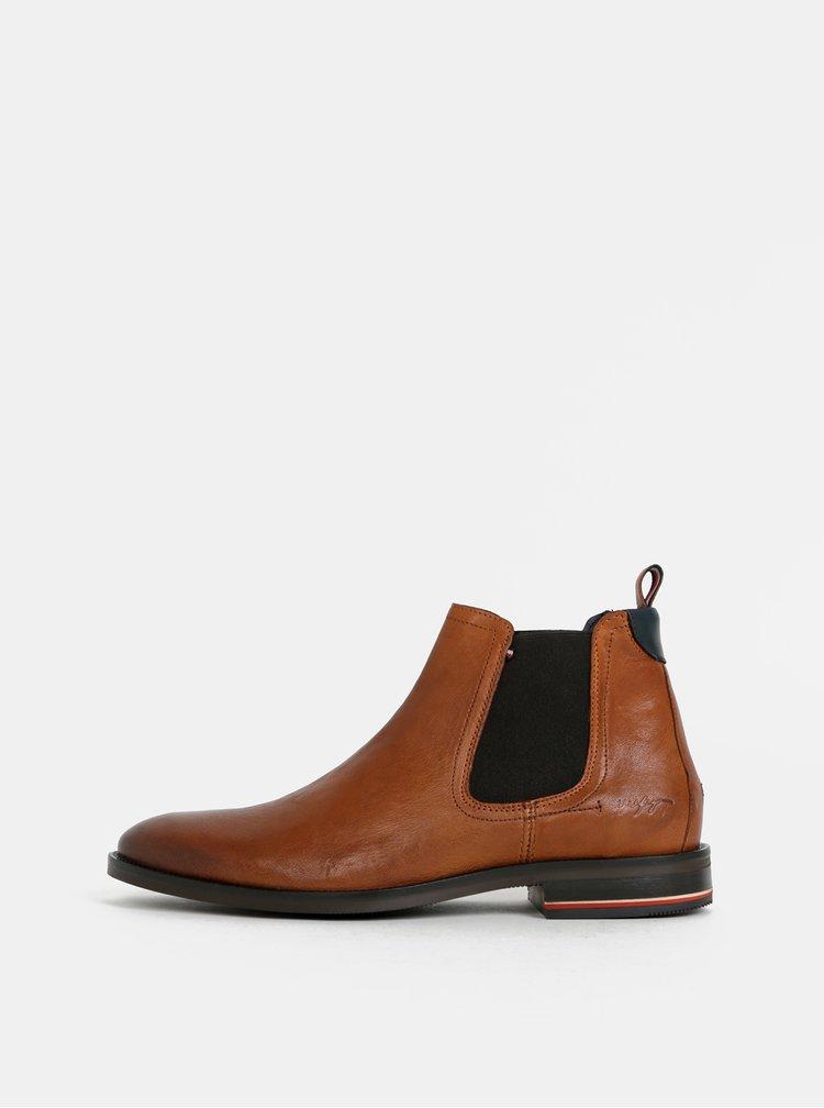 Hnědé pánské kožené chelsea boty Tommy Hilfiger