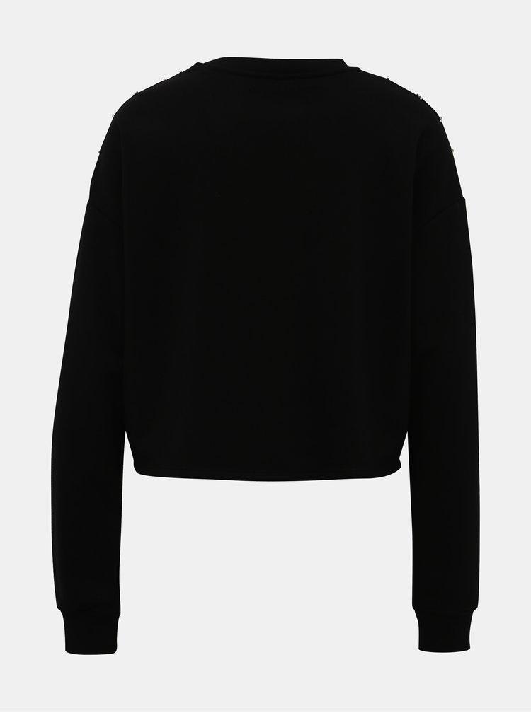 Čierna mikina s ozdobnými detailmi TALLY WEiJL Myla