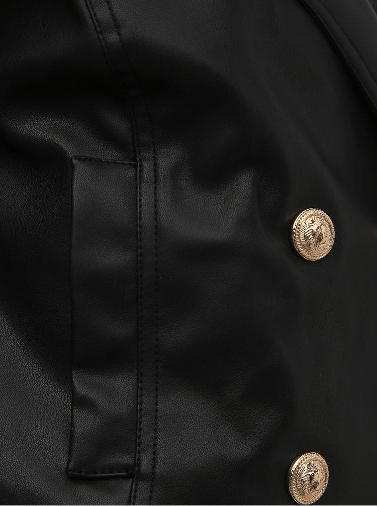 Čierna krátka koženková bunda TALLY WEiJL Fuly