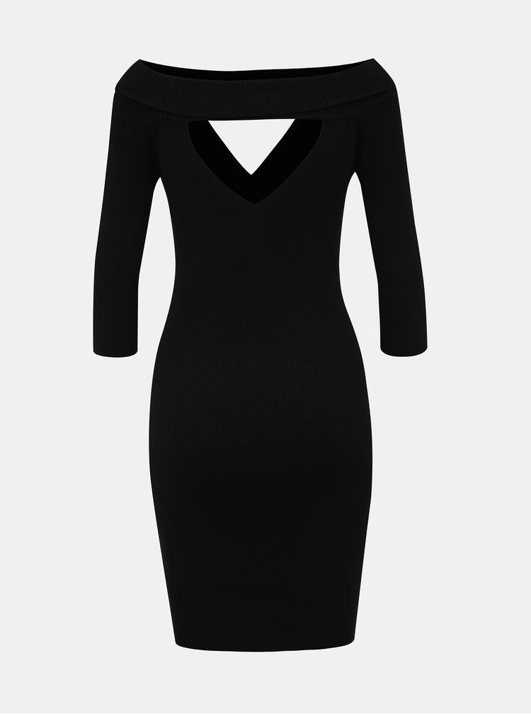 Čierne púzdrové šaty s priestrihmi TALLY WEiJL Satu