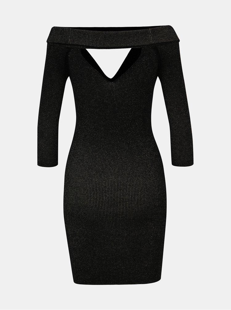 Černé třpytivé pouzdrové šaty s průstřihy TALLY WEiJL Satu