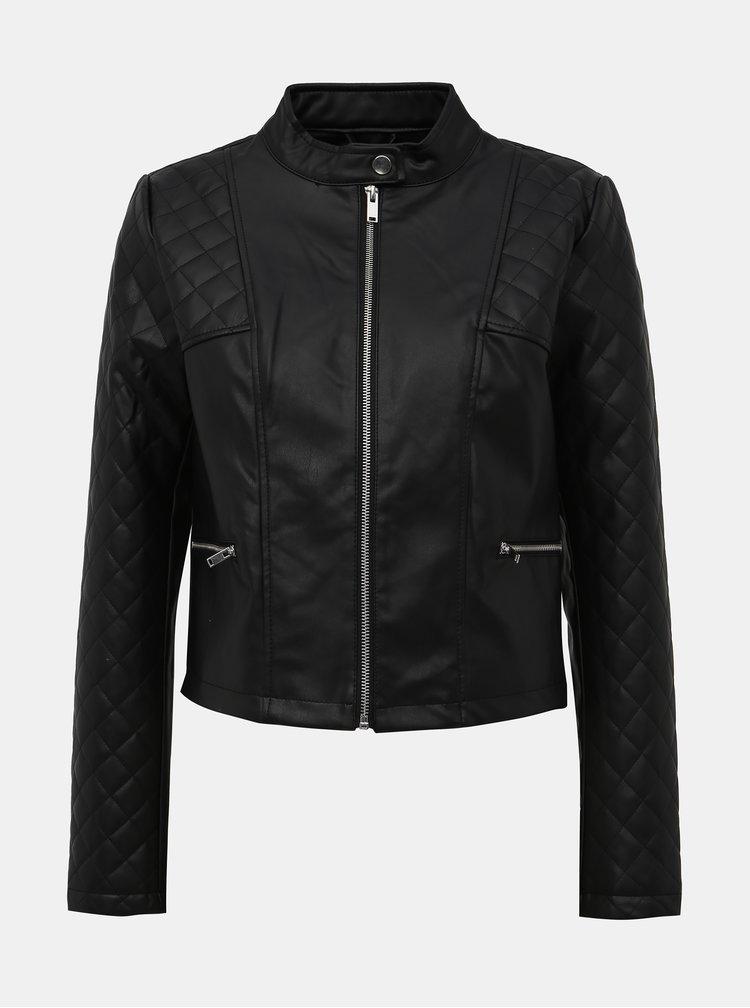 Čierna koženková bunda Jacqueline de Yong Kia