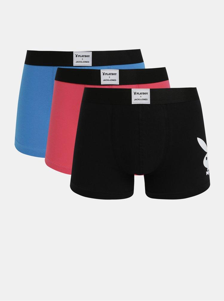 Sada troch boxeriek v modrej, rúžovej a čiernej farbe Jack & Jones Playboy