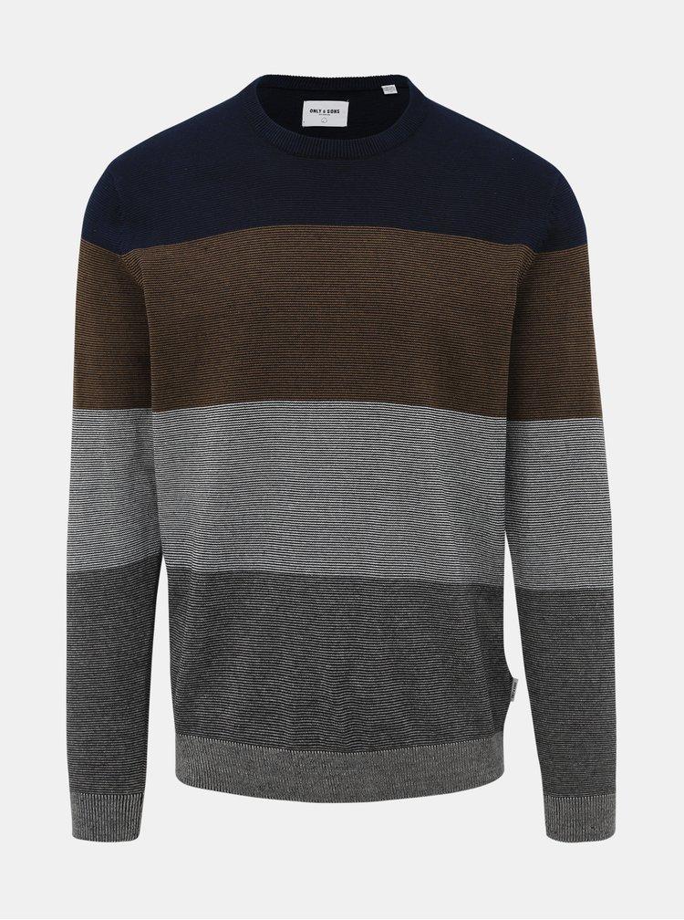 Šedý vzorovaný sveter ONLY & SONS Alex