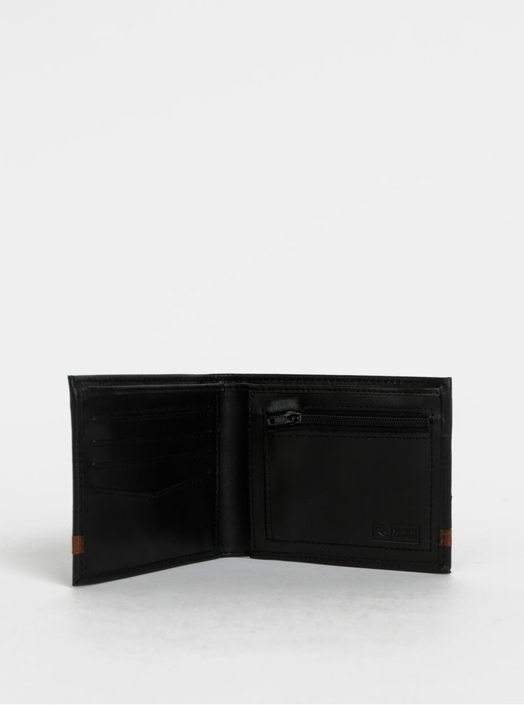 Čierna pánska kožená peňaženka s púzdrom 2v1 Rip Curl Overlap
