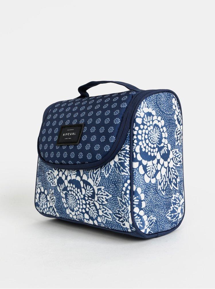 Modrá vzorovaná cestovná kozmetická taštička Rip Curl F-Light