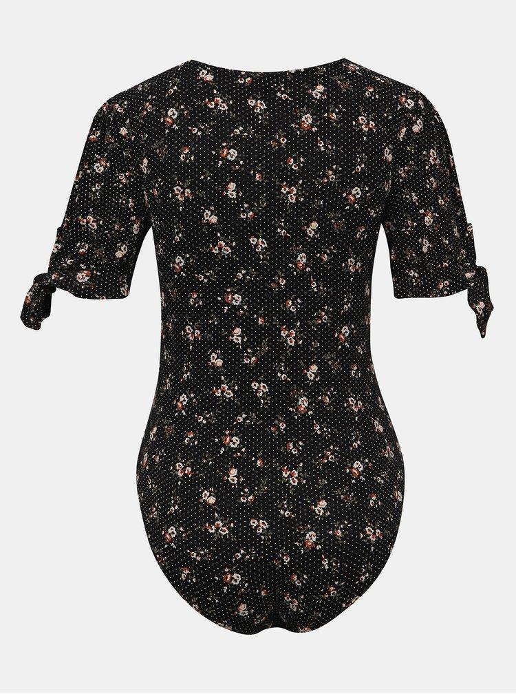 Černé květované body Miss Selfridge