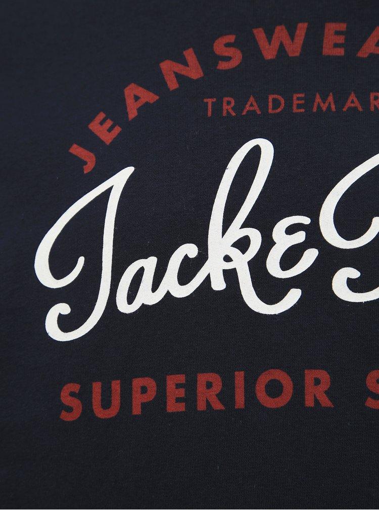 Tmavomodrá mikina s potlačou Jack & Jones Logo