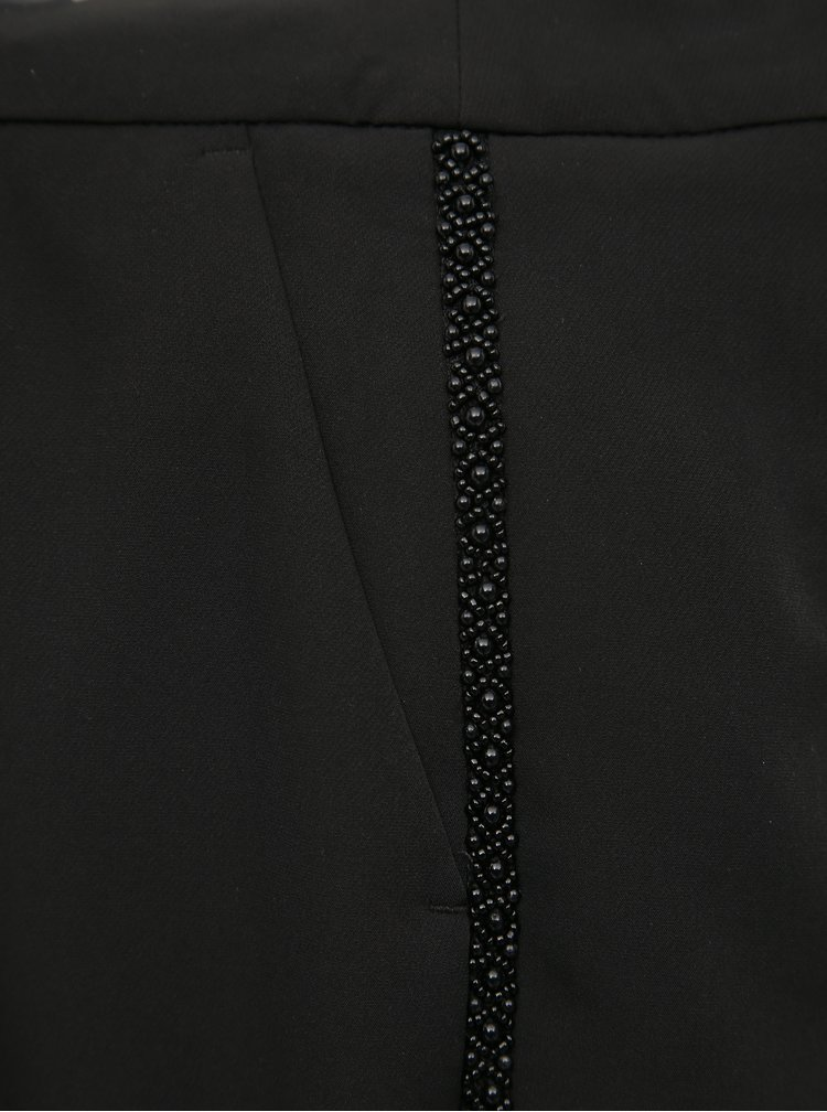 Čierne skrátené nohavice s pásom Dorothy Perkins Petite