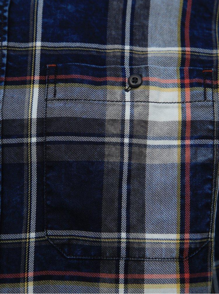 Modrá kostkovaná slim fit košile Jack & Jones Prindigo