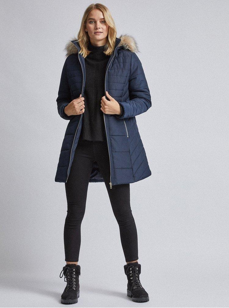 Tmavě modrý prošívaný zimní kabát Dorothy Perkins