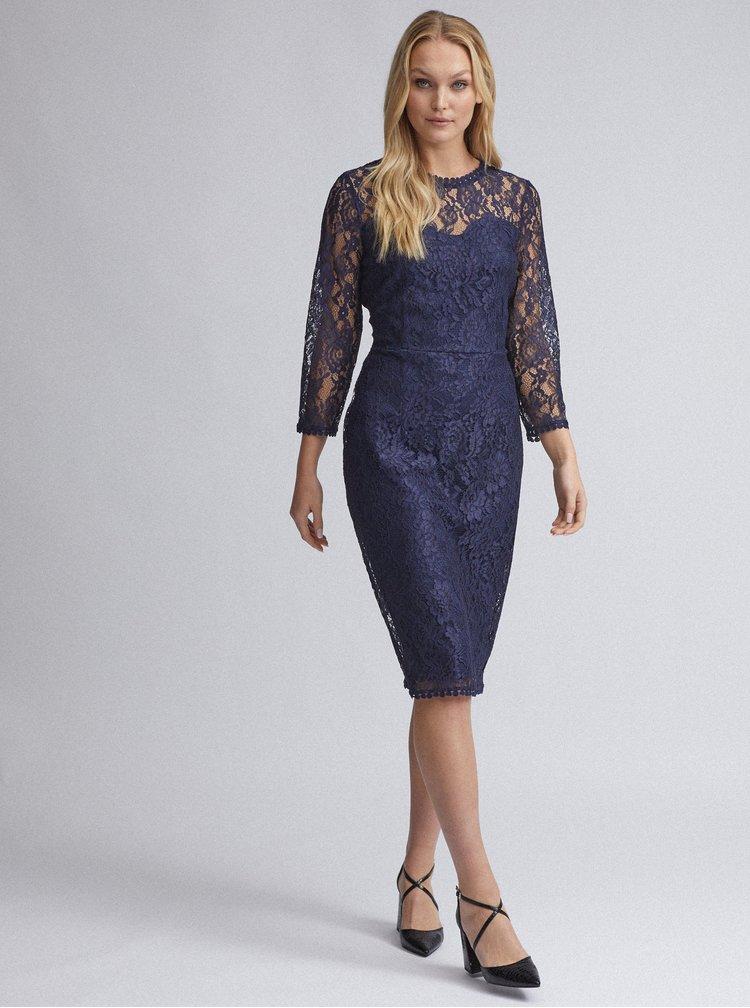 Tmavě modré krajkové pouzdrové šaty Dorothy Perkins Tall
