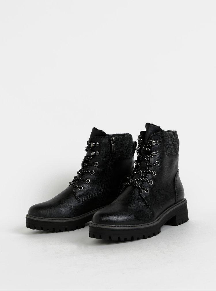 Černé zimní kotníkové boty Tamaris