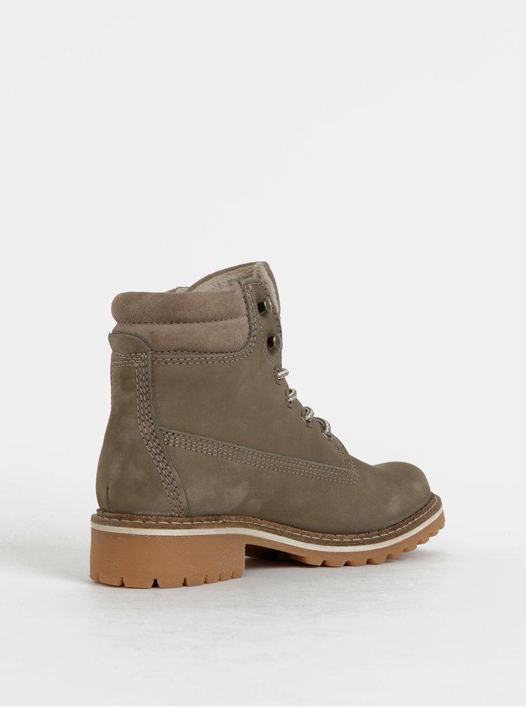 Khaki zimní kožené kotníkové boty Tamaris