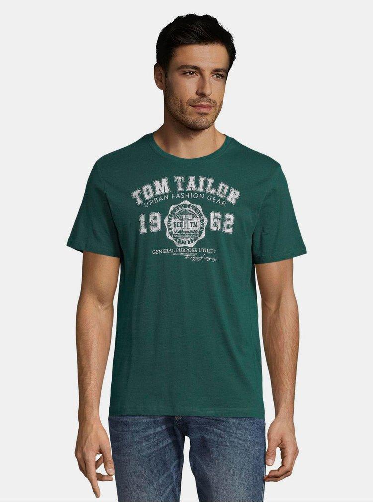 Tmavě zelené pánské tričko s potiskem Tom Tailor