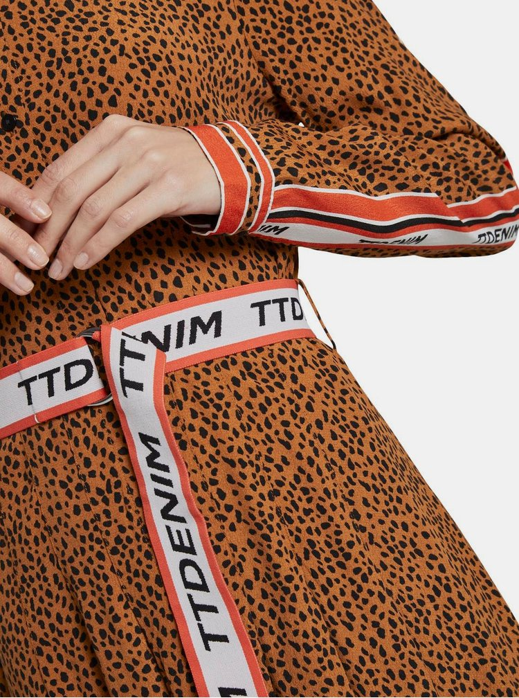 Hnědé maxišaty s gepardím vzorem Tom Tailor Denim