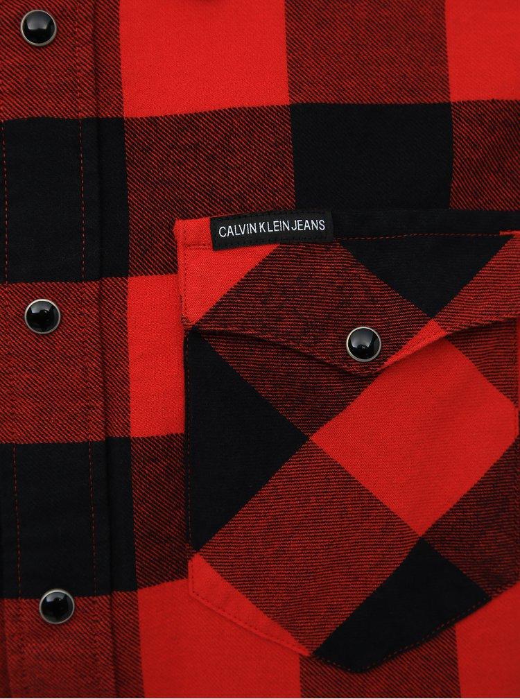 Červená pánská kostkovaná flanelová regular fit košile Calvin Klein Jeans