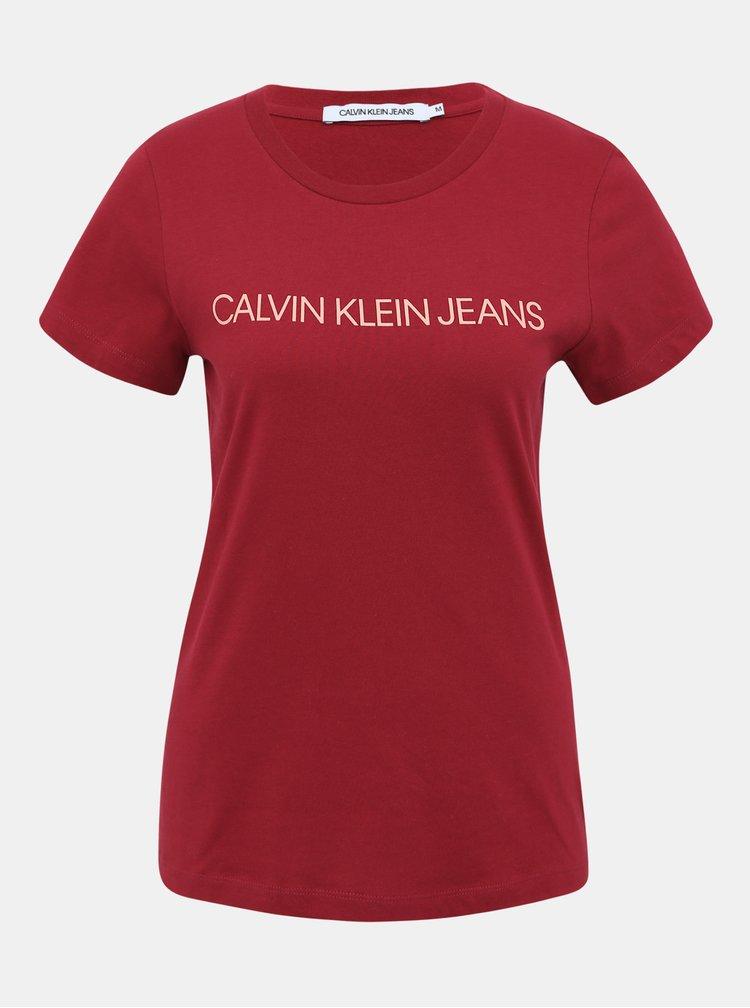 Vínové dámské tričko s potiskem Calvin Klein Jeans