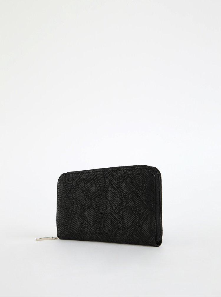 Černá dámská kožená peněženka s hadím vzorem OJJU