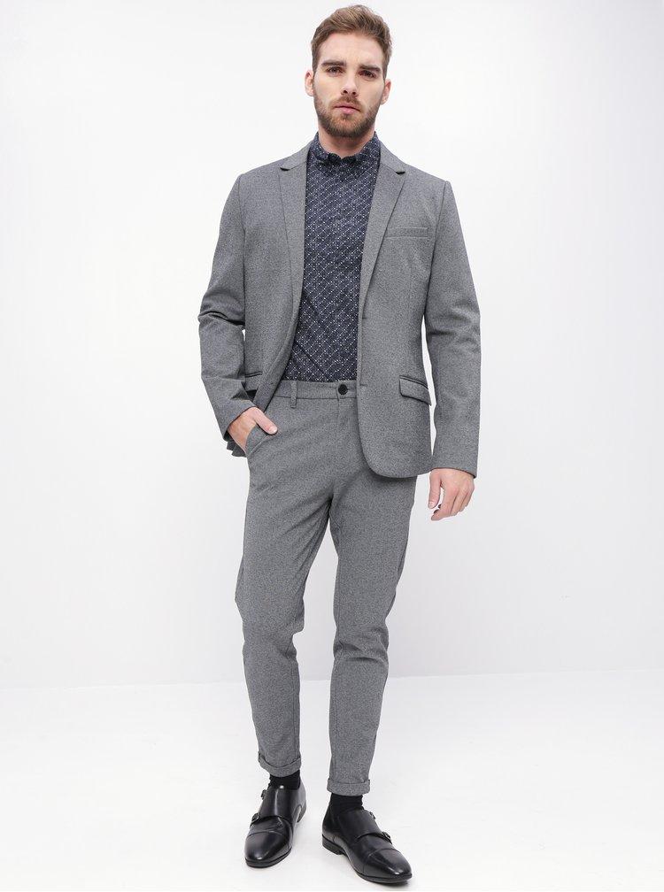 Šedé zkrácené oblekové slim fit kalhoty Lindbergh