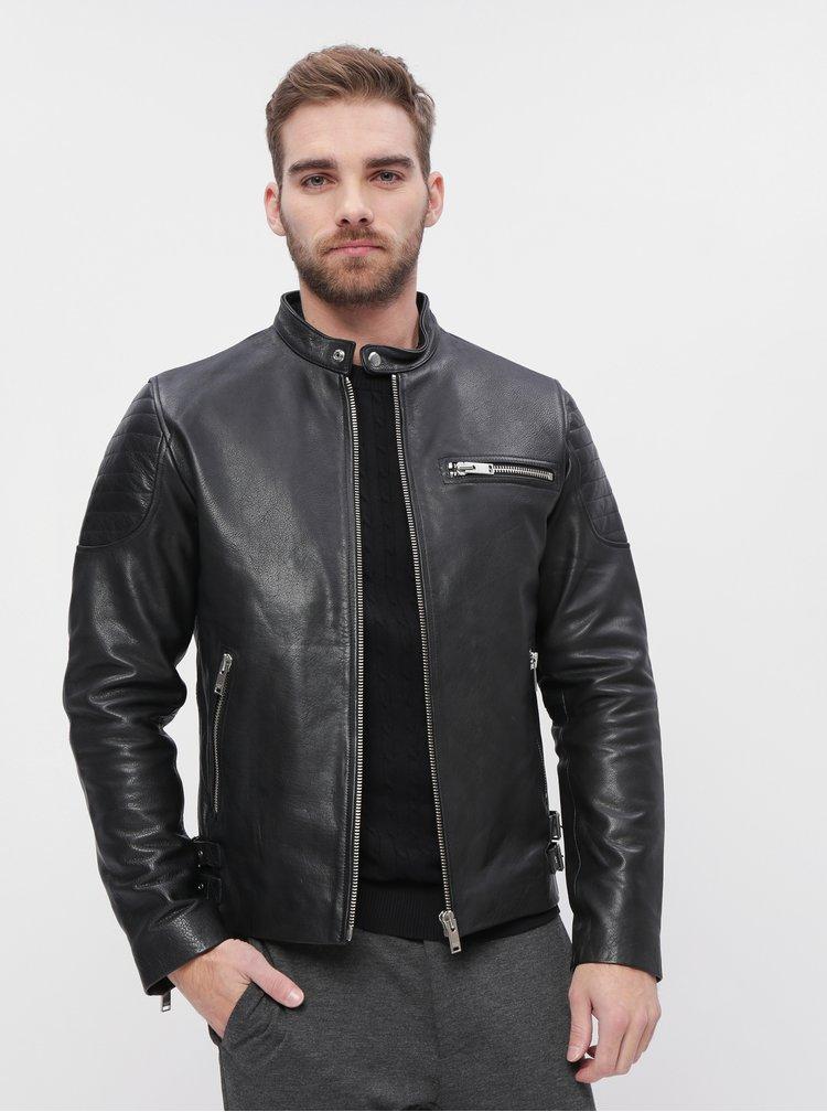 Čierna kožená bunda Selected Homme Rudy