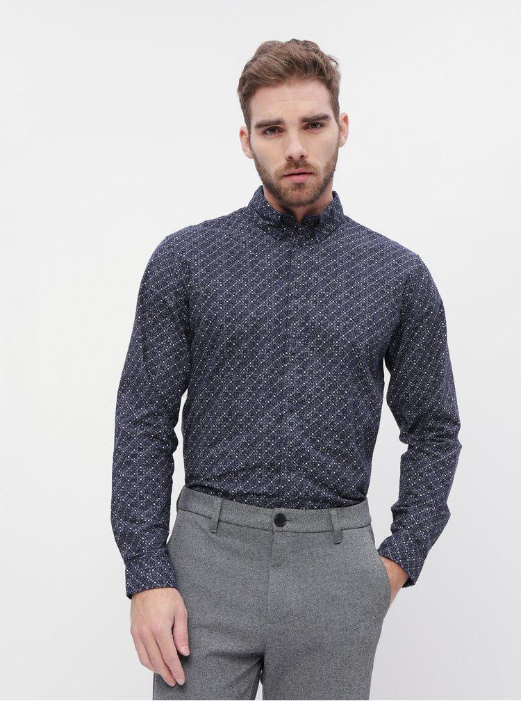 Tmavomodrá vzorovaná slim fit košeľa Selected Homme Howard