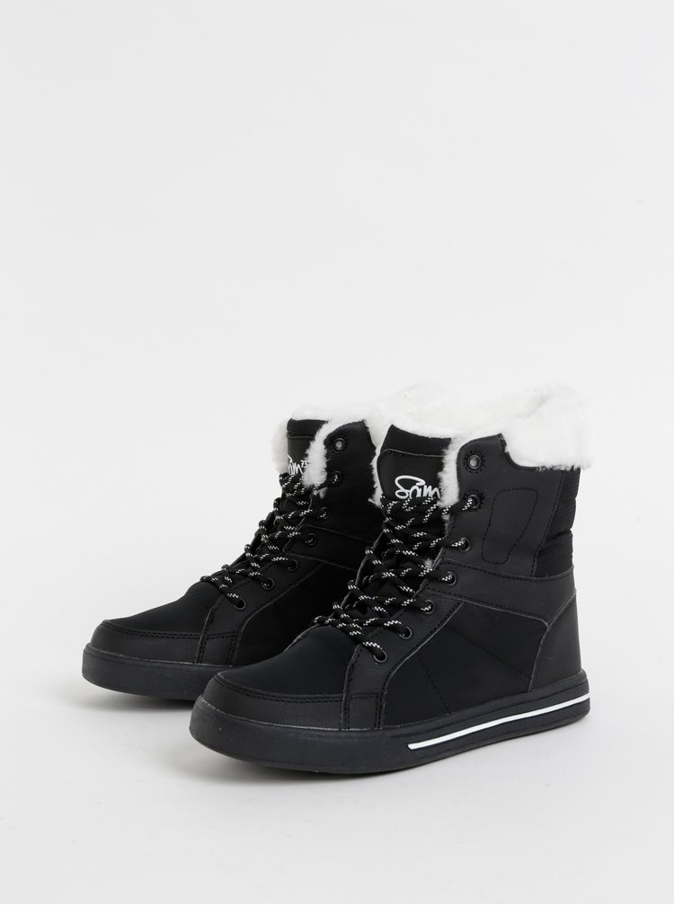 Černé dámské kotníkové zimní boty SAM 73