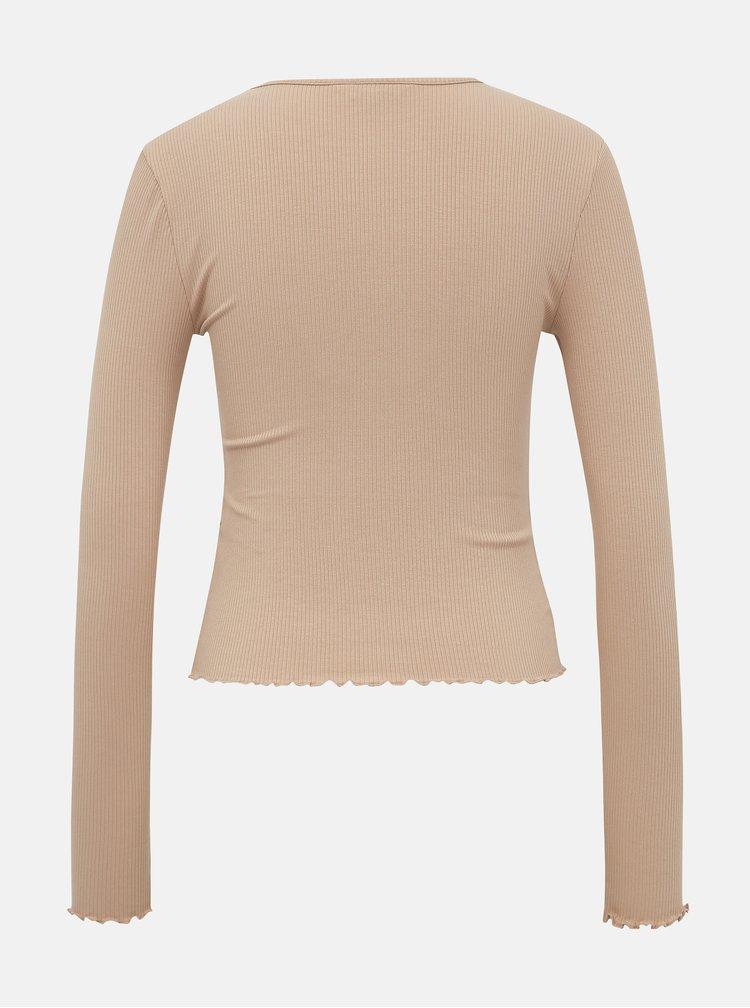 Béžové tričko Miss Selfridge
