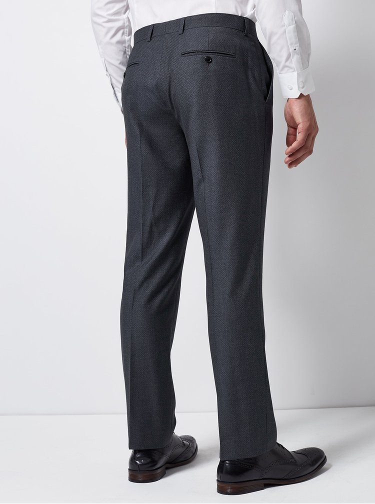 Tmavomodré oblekové nohavice s pukmi Burton Menswear London