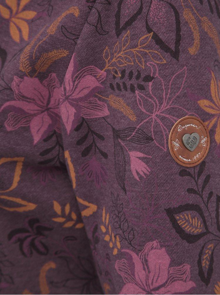 Fialová dámska kvetovaná mikina Ragwear Neska Flowers