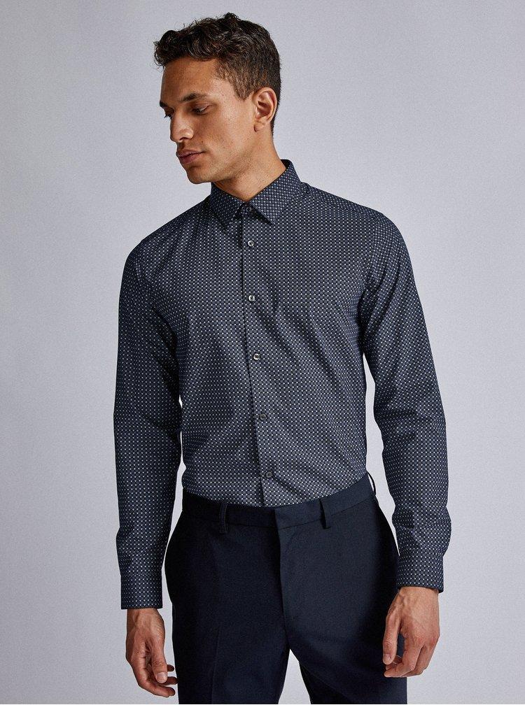 Tmavě modrá vzorovaná slim fit košile Burton Menswear London