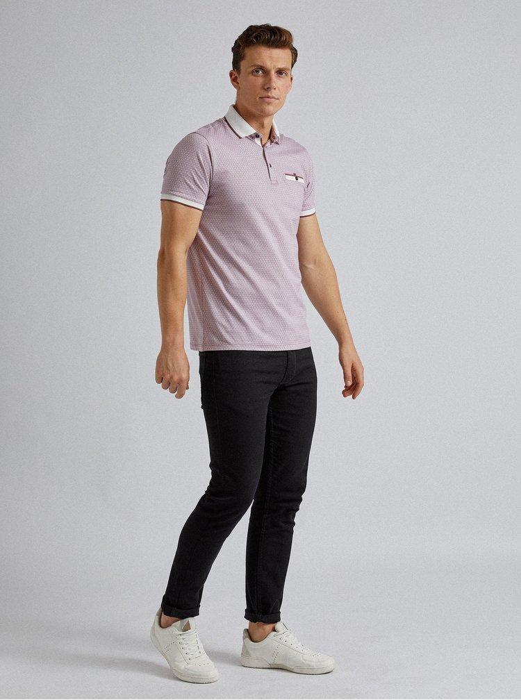 Růžové vzorované polo tričko Burton Menswear London