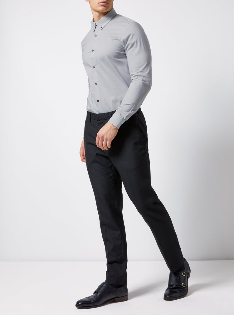Šedá skinny fit košile Burton Menswear London