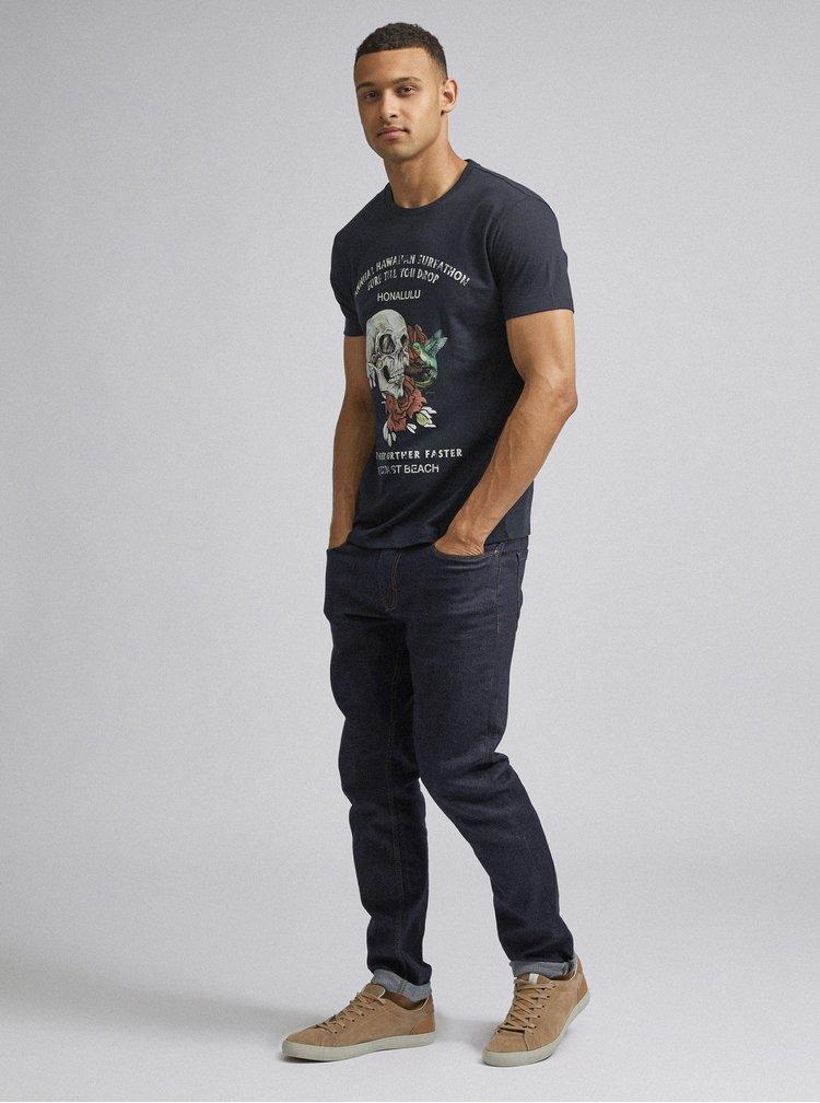 Tmavě modré tričko s potiskem Burton Menswear London Skull