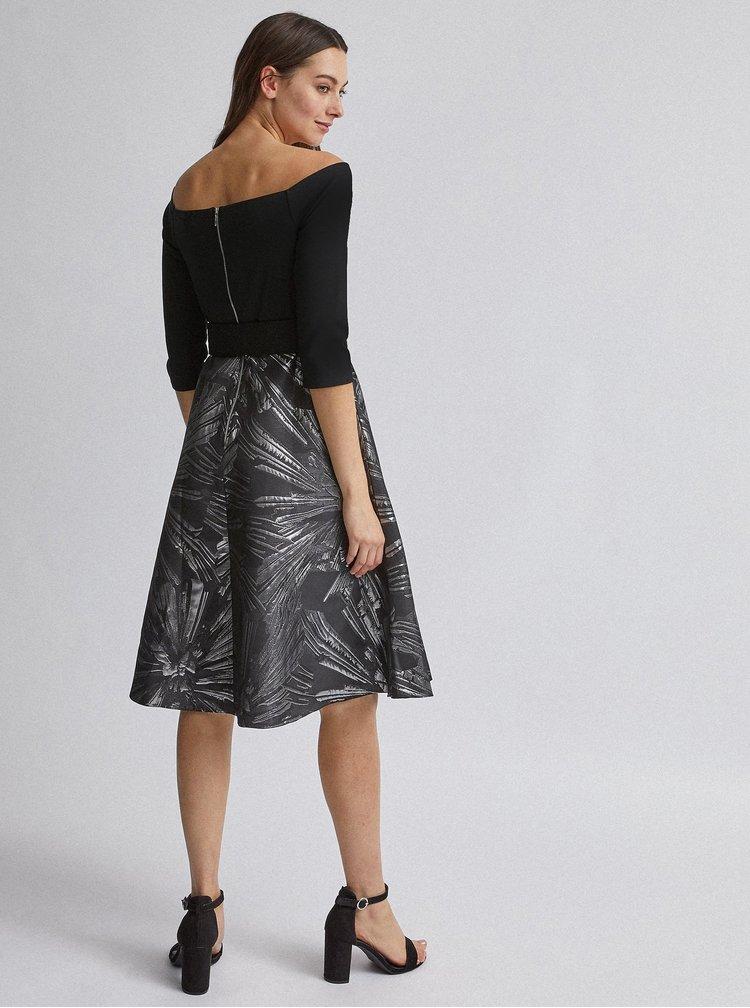 Vzorované šaty v čierno-striebornej farbe Dorothy Perkins