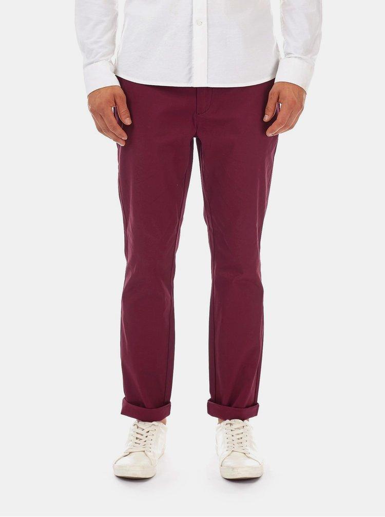 Vínové slim fit kalhoty Burton Menswear London
