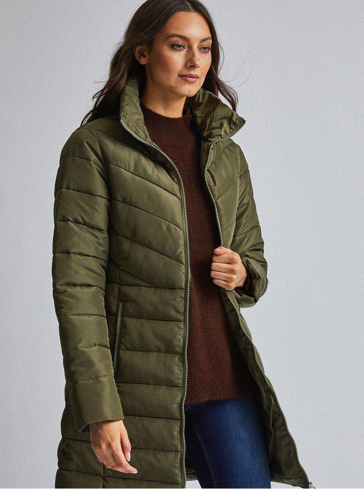 Khaki prošívaný kabát Dorothy Perkins