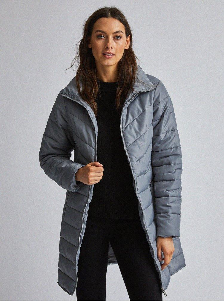 Šedý prošívaný kabát Dorothy Perkins