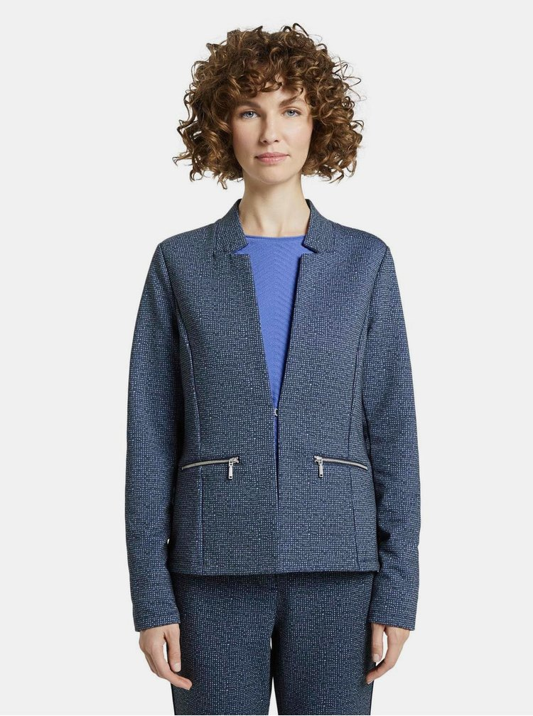 Tmavě modré dámské vzorované sako Tom Tailor