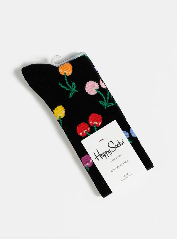 Černé vzorované ponožky Happy Socks Cherry