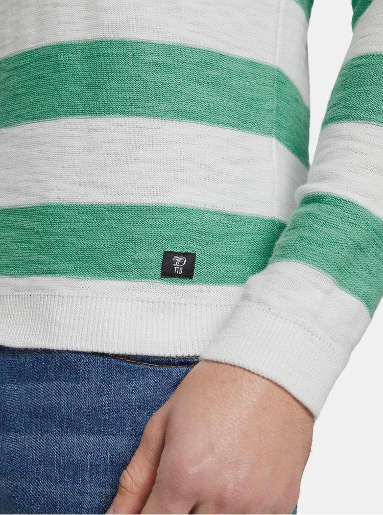 Zeleno-bílý pánský pruhovaný basic svetr Tom Tailor Denim