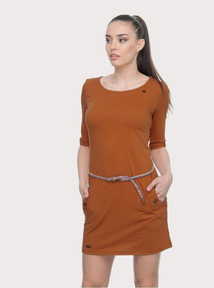 Hnedé šaty s opaskom Ragwear Tanya