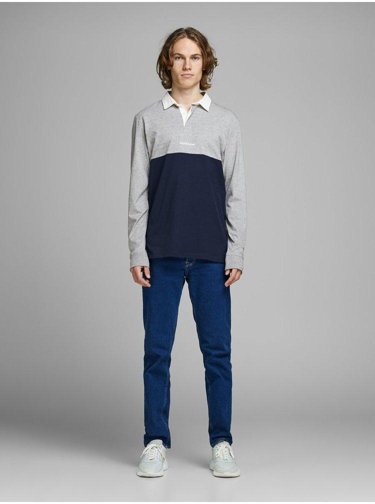 Tricouri polo pentru barbati Jack & Jones - gri, albastru