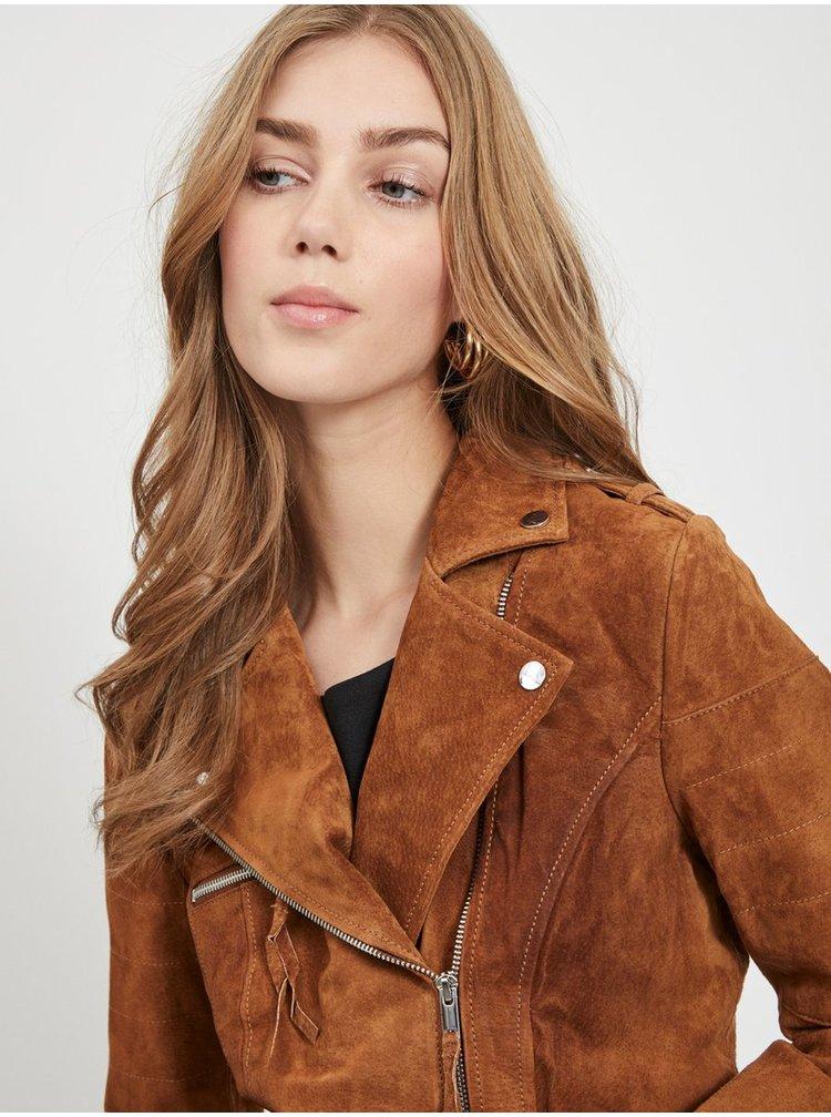 Hnedá semišová bunda VILA Cris