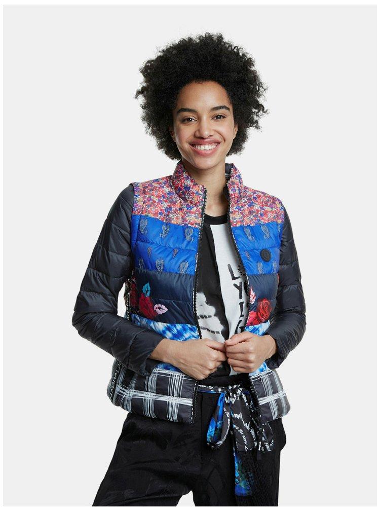 Černo-modrá prošívaná bunda/vesta Desigual