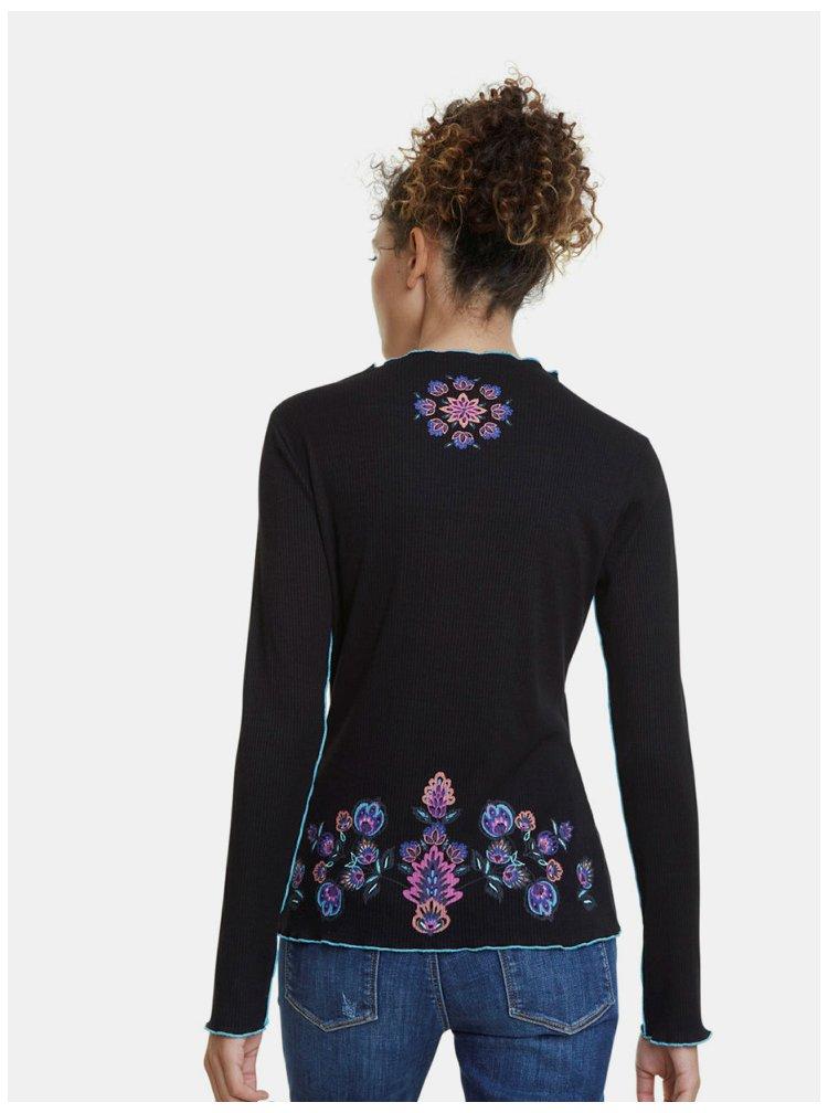 Černé žebrované vzorované tričko Desigual
