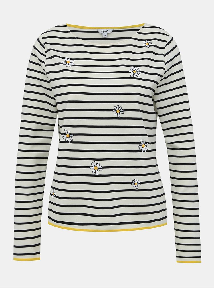 Krémové pruhované tričko s výšivkou M&Co