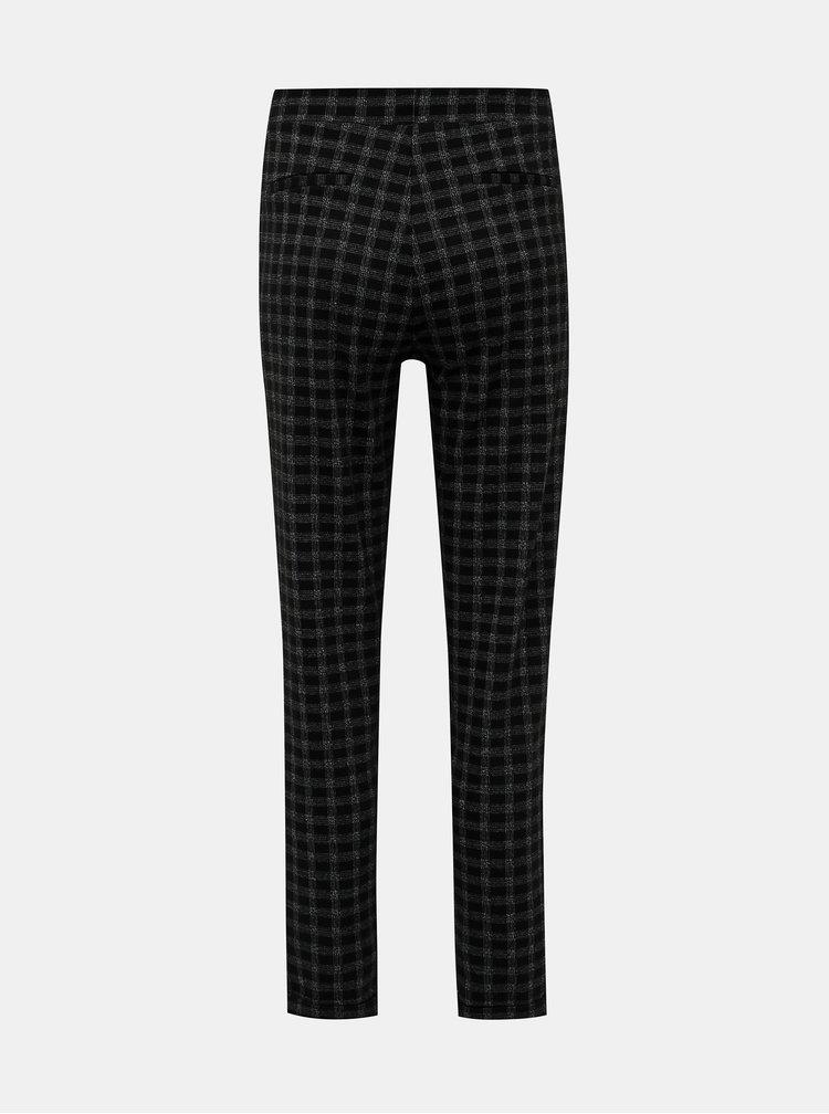 Černé kostkované kalhoty M&Co